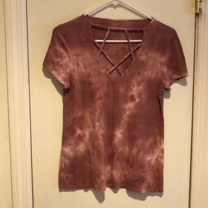 AE American Eagle Soft & Sexy Ribbed Tie Dye Tee